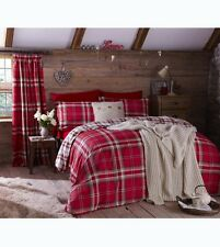 Tartan Check Red and White Cotton Rich Double Duvet Cover Bed Bedding Quilt Set