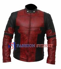 Men's Deadpool  Wade Wilson Waxed Real Genuine Leather Costume Jacket +All Sizes