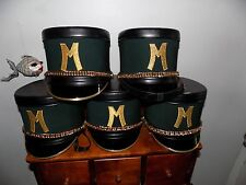 (5 LOT) 80'S MINT GREEN AND GOLD MARCHING BAND SHAKO HATS by FRUHAUF CO. KANSAS
