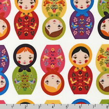 Robert Kaufman Little Kukla Matryoshka Russia Doll Bright Fabric