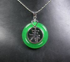 White Gold Plate CHINESE Green JADE Pendant Circle Longevity Word Heart 253530