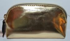NEW VICTORIA'S SECRET GOLD SHINY MAKEUP COSMETIC CASE BAG CLUTCH ORGANIZER SMALL