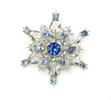 Snowflake Pin Brooch Frozen Blue Crystal for Winter Christmas Holiday