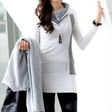 Womens Winter Knitted Collar Pullover Hoodies Sweater Coat Jumper Slim Long Tops