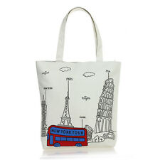 Women Shoulder Canvas Tote Bag Handbag Shopping School Tower Bus Pattern Beige