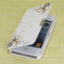 Stylish Pouch Bling White For iPhone 4G 4S Magnetic Leather Flip Hard Case Cover