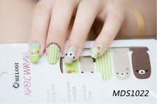 16 Pcs Nail Wrap Nail Patch Self-adhesive Decals Stickers Kawaii Bear MDS1022