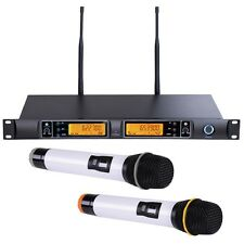 Professional Dual 100 Channel UHF Wireless 2 Hand Held Microphone System