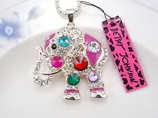 Betsey Johnson cute inlaid Crystal rhinestone elephant pendant necklace # F045