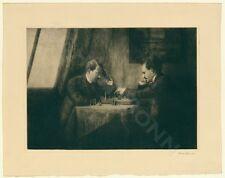 Original Radierung 1909 Emma Löwenstamm Schachspieler Schach échec chess RARE!