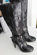 Black MISS SIXTY Belted Zip Up Leather High Heel Knee High Boots size 36