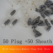 Unique 100X RJ-45 Connectors Modular Plugs With Boots/Black Caps for Cat5e Cable