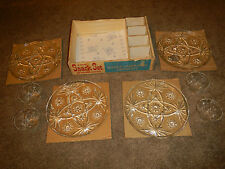 ANCHOR HOCKING 8 PIECE SNACK SET PLATES PUNCH CUPS CRYSTAL PRESCUT CLEAR #1