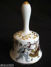 "VINTAGE HAMMERSLEY PORCELAIN ANNUAL/XMAS 6"" CHINA BELL 1975 VICTORIAN SKATING EX"