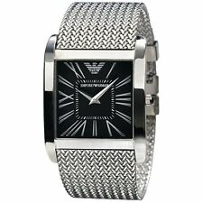 Authentic ARMANI AR2012 SUPER SLIM BLACK DIAL MENS WATCH  36MM.STEEL STRAP.