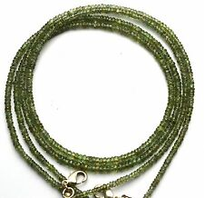 """SUPER QUALITY NATURAL GREEN SAPPHIRE FACETED 3MM RONDELLE BEADS NECKLACE 19"""""""