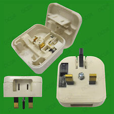White 2 Pin USA Japan China - UK 3 Pin Mains Fused Plug Converter Travel Adaptor
