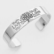 Tree of Life Cuff Bracelet SILVER Live Love Laugh Learn Inspirational Message