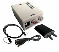 White Optical Coaxial Toslink Digital to Analog RCA Audio Converter with US Plug