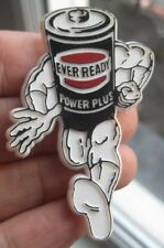 EVER READY BATTERY power plus vintage 1970s muscle man superman pin BADGE