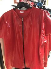 "Misfitz red rubber latex zip T Shirt 48/50""Chest XXL Fetish"