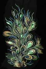 "24"" Green Sequins Peacock Bird Feather Appliqué Sewing Crafts Trim"