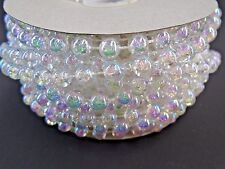 6 MM 12 Yard Roll Faux Pearl Beads on a String Craft Garland (Clear Iridescent)