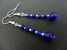 A PAIR OF COBALT BLUE CRYSTAL GLASS BEAD  SILVER  PLATED DROP  EARRINGS. NEW.