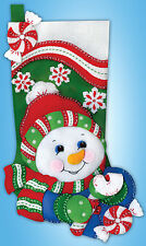 Felt Embroidery Kit ~ Design Works Jolly Snowman Christmas Stocking #DW5252