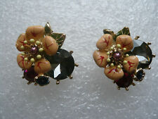 ANTHROPOLOGIE ELEGANT PEACH/YELLOW FLOWER STUD EARRINGS NEW LES BELLE