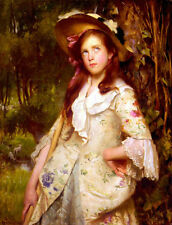 Nice Oil painting Calkin Lance The Young Shepherdess Girl in forest Hand painted