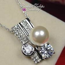 18CT White Gold Plated Fashion Shinning Necklace W/ Swarovski Crystals