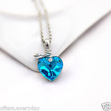 Ocean Blue Heart Shape Pendant Necklace Chunky Statement Crystal Pendant