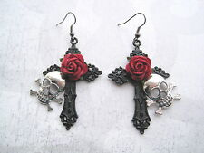 *SILVER SKULL BLACK CROSS RED ROSE* Large Gothic Earrings Halloween NEW Sugar