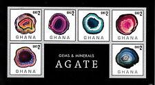 Ghana 2013 MNH Gems & Minerals 6v M/S Agate Rocks Stamps
