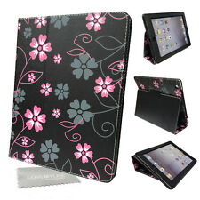 Pink & Black Flower, Floral PU Leather Media Stand Case for Apple iPad 2, 3, 4