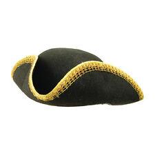 Adulto Negro Tricorn Sombrero & Adorno de oro pirata Dick Turpin Fancy Dress Costume Prop