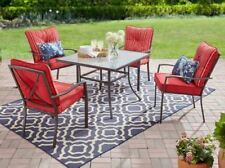 5 Piece Red Outdoor Patio Furniture Dining Set Folding Chair Metal Table Deck
