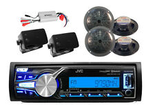 New JVC Marine Car iPod iPhone Control Bluetooth Radio, Black Speakers, 800W Amp