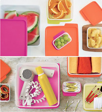 Tupperware Keep Tabs 5pc Large Containers Set Electric Neon Pink Orange Yel. New