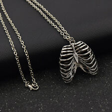 Unisex Chain Necklace Ribcage Chest Bone Skeleton Pendant Jewelry Retro Silver