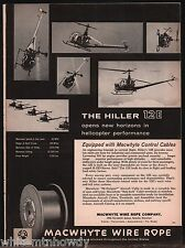 1959 HILLER 12E Helicopter Photo MacWhyte Wire Rope AD