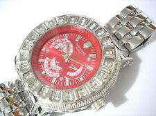 Stainless Steel Bling Bling Big Case Hip Hop Techno King Men's Watch Item 2714