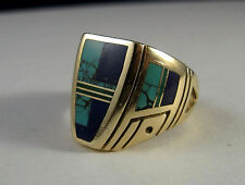 RAY TRACEY Navajo men's 14k gold ring with inlays inlaid - circa 1990