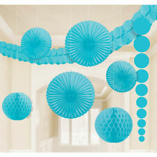 9 x Turquouise Hanging Paper Party Decorations AQUA BLUE Fans Honeycombs garland
