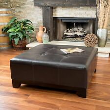 Elegant Espresso Brown Leather Ottoman Coffee Table w/ Button Tufted Accents