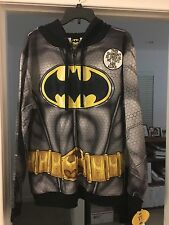 DC COMICS BATMAN MEN'S COSTUME ZIPPER HOODIE NWT AVAIL  Size S M L XL