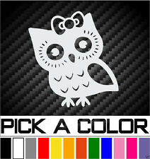 "OWL GIRL DECAL 4"" CAR WINDOW FUNNY VINYL STICKER"