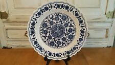 """Chinese Blue & White Porcelain 16 3/4"""" Large Scalloped Floral Plate or Platter"""