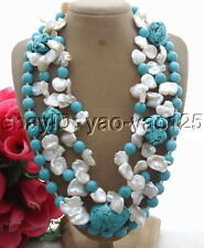 R091405 3Strds 18MM Keshi Pearl&Turquoise Necklace